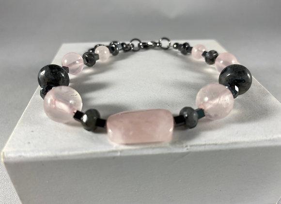 Rose Quartz, Larvikite & Hematite Bracelet