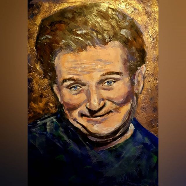 Robin Williams' encaustic mixed media po