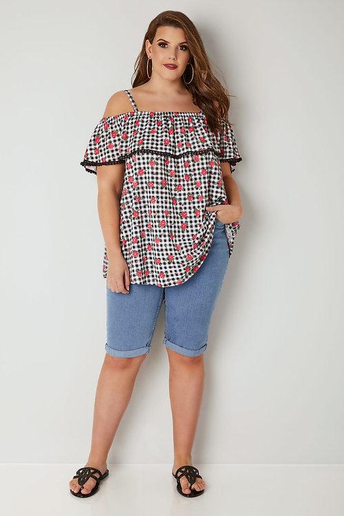 Bermuda de Jeans Celeste Elastizada Talles Especiales