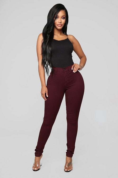 Pantalón Jeans Importado Tiro Alto Color Bordo