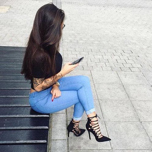 Pantalón Bengalina Celeste Tiro Alto De Mujer