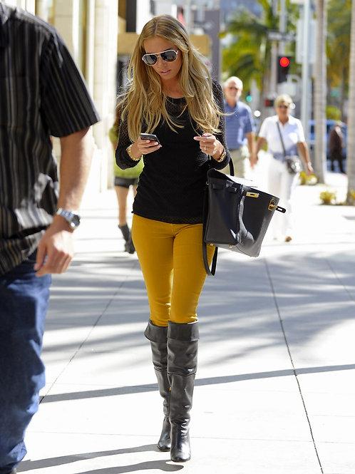 Pantalón Jeans de Mujer Chupín Tiro Alto Beige