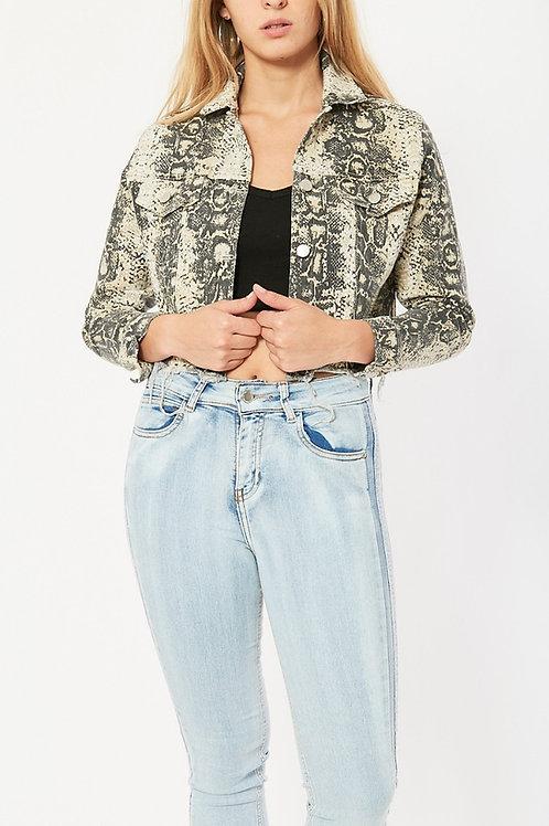 Campera Jeans Reptil Beige Desflecada de Mujer