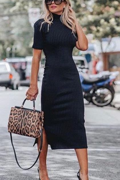 Vestido Largo Al Cuerpo Negro