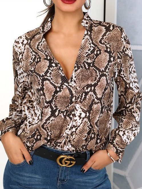 Camisa Lagarto Reptil De Mujer Marrón