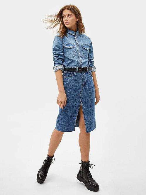 Pollera Larga Retro Azul Jeans Importada