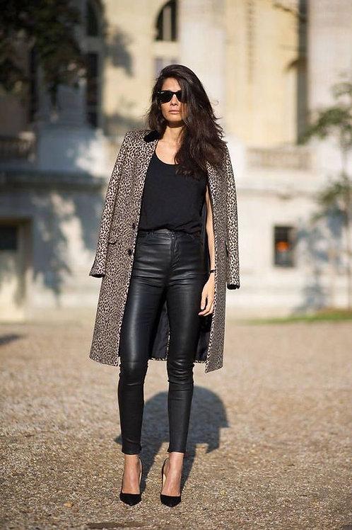 Pantalón Engomado de Cuero Negro