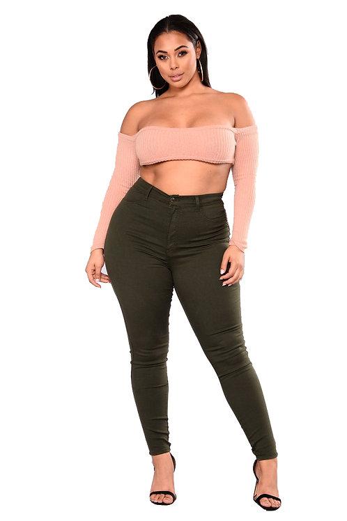 Pantalón Jeans de Mujer Talles Especiales Verde Militar