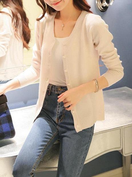 Sweater De Lana Mujer Importado Con Botones Color Crema