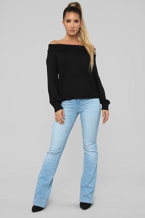 Pantalón Jeans Tiro Alto Oxford Celeste De Mujer