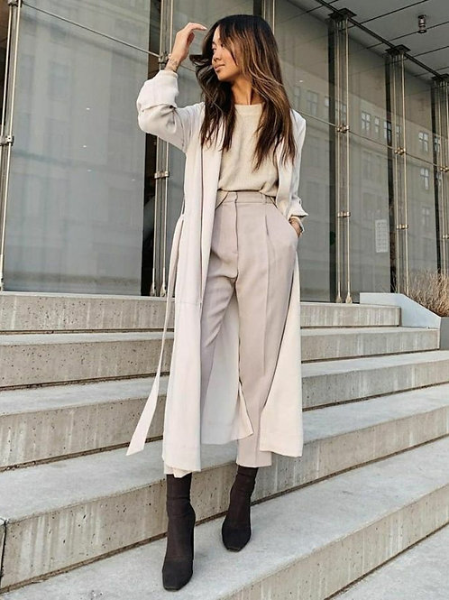 Babucha Vestir Con Pliegues Tiro Alto Color Crema