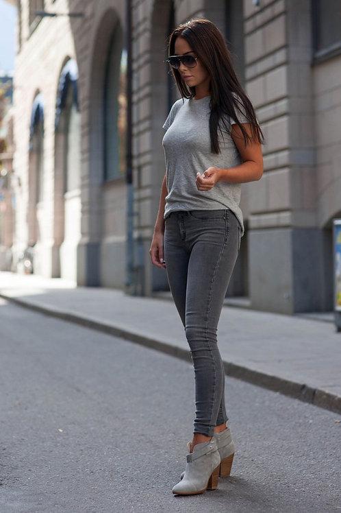 Pantalón Jeans De Mujer Chupin Tiro Alto Gris Oscuro