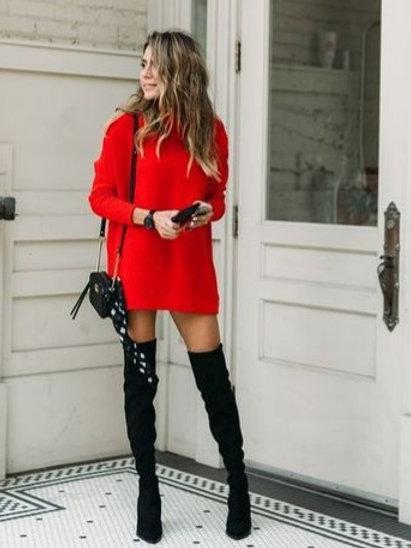 Vestido Sweater Lana Importado Color Rojo