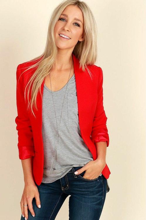 Blazer De Mujer Entallado Color Rojo