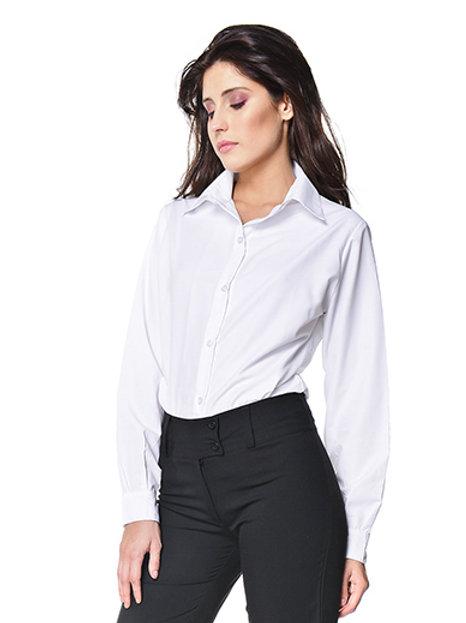 Camisa Básica Lisa De Oficina Para Mujer