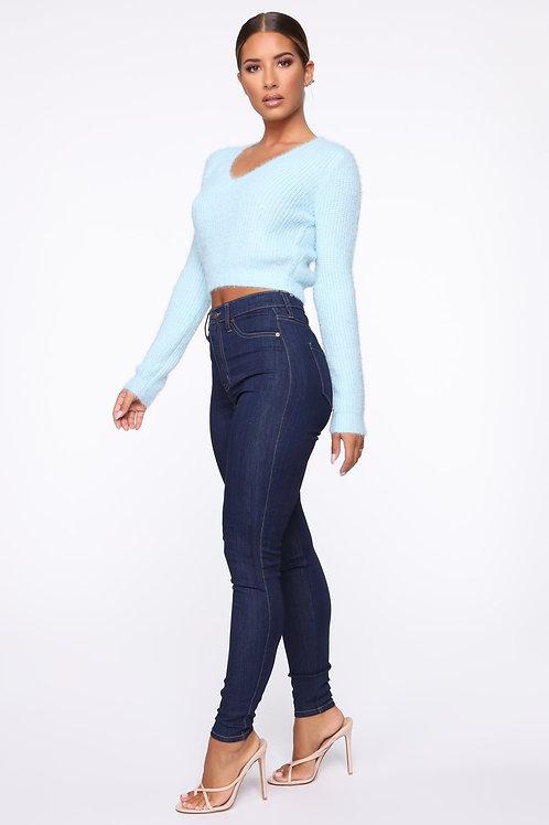 Pantalón Jeans De Mujer Súper Tiro Alto Azul Oscuro