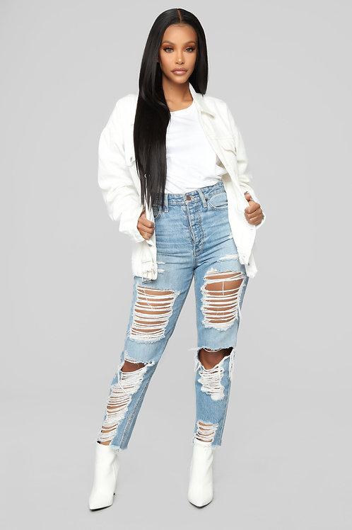 Campera De Jeans Blanca De Mujer Estilo Boyfriend