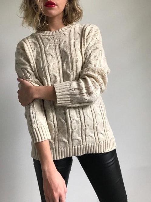 Sweater Importado Beige Marfil Con Cordones