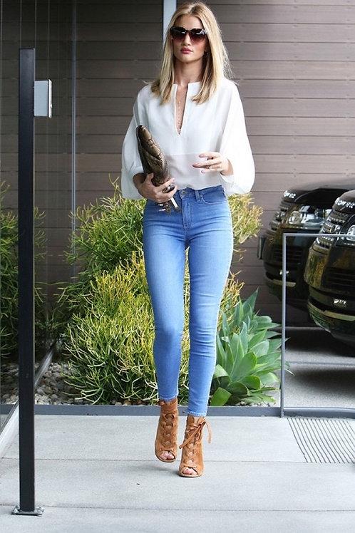 Pantalón Jeans Elastizado Tiro Alto Celeste