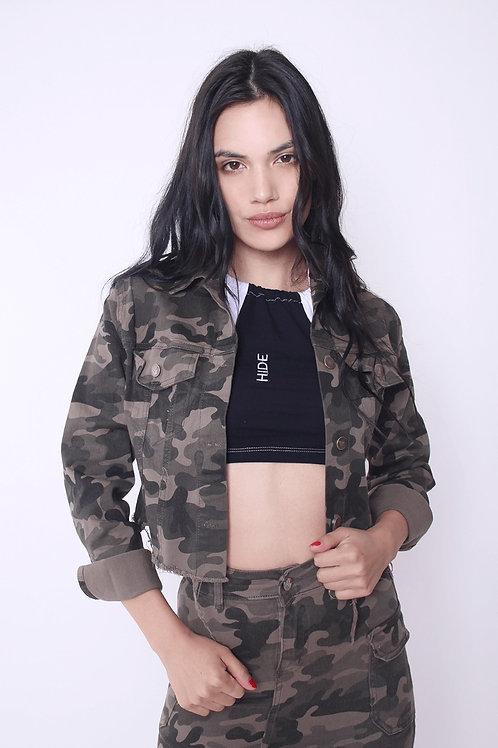 Campera Jeans Camuflada Desflecada De Mujer