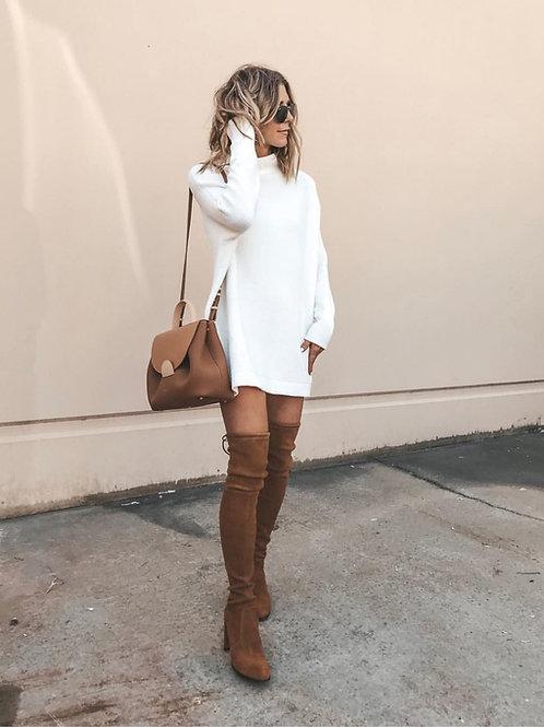 Sweater Largo Blanco de Lana Importado