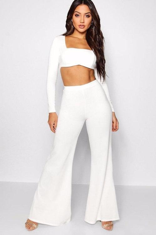 Pantalón Calza Oxford Blanco Elastizado