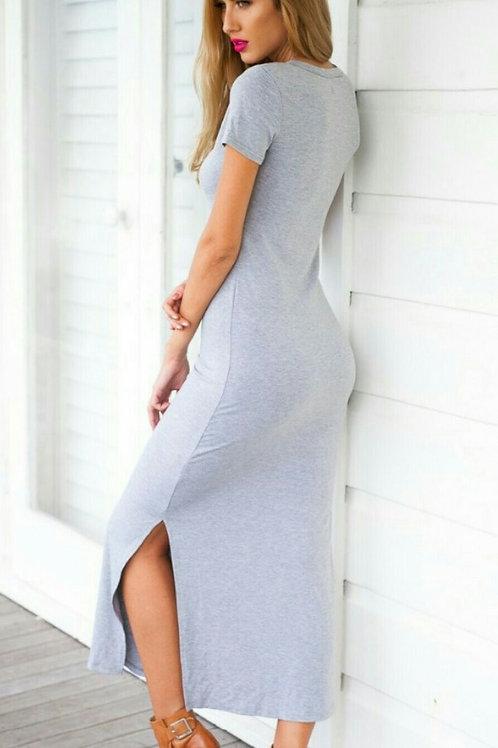 Vestido Largo Modal de Mujer Color Gris