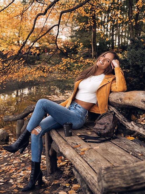 Pantalón Jeans Elastizado Con Rotura en Rodilla Importado