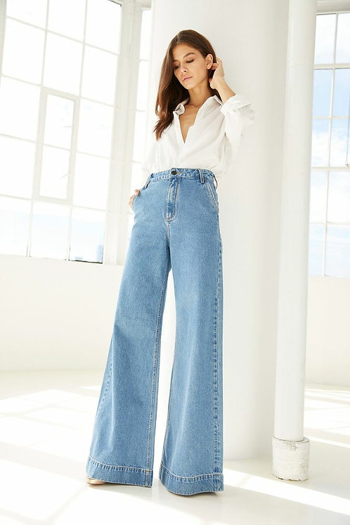 Pantalon Jeans Wide Leg Palazzo