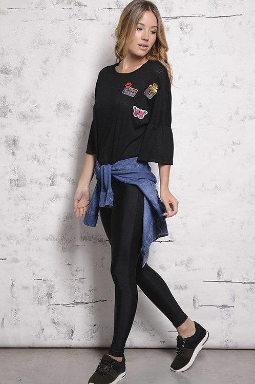 Calza Elastizada Color Negra Tiro Alto Mujer Brillosa