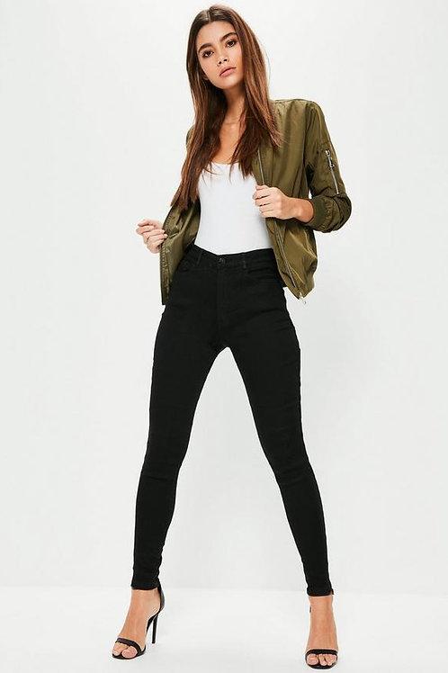 Pantalón Jeans Elastizado Tiro Alto Negro