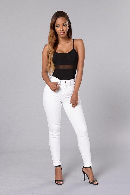 Pantalón Blanco Mujer Tiro Alto