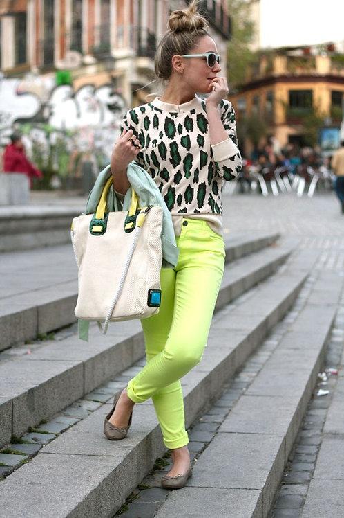 Pantalón Jeans Verde Neón de Mujer