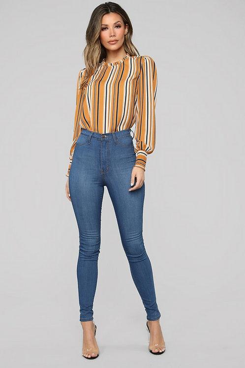Pantalón Jeans Azul Claro Tiro Alto Elastizado