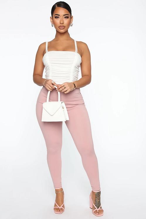 Pantalón Jeans Elastizado Color Rosa Nude