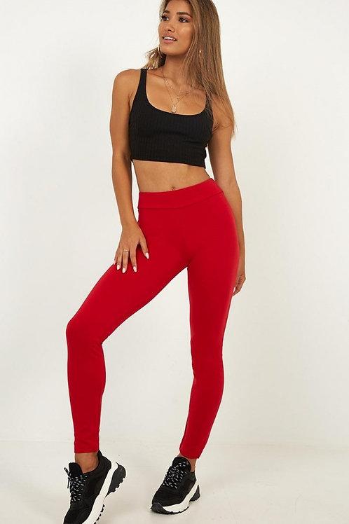 Calza Leggins Tiro Alto Roja de Mujer