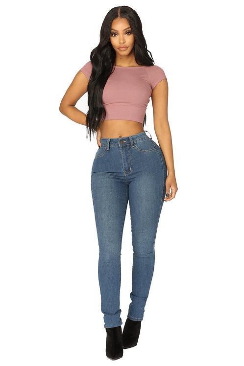Pantalón Jeans de Mujer Chupín Tiro Alto Azul Claro
