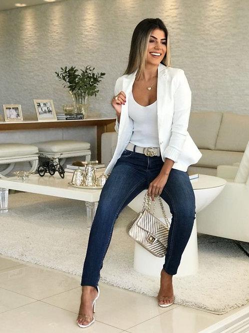 Blazer De Mujer Entallado Color Blanco