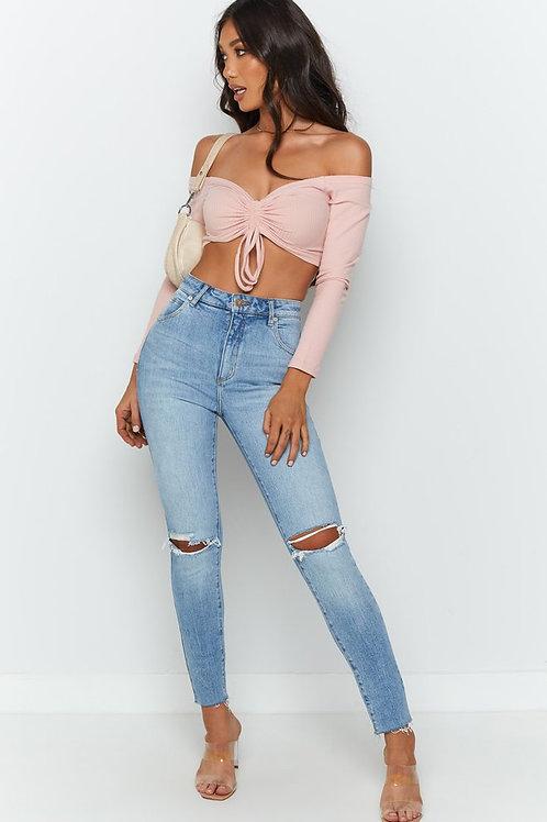 Pantalón Jeans Con Rotura En La Rodilla Celeste
