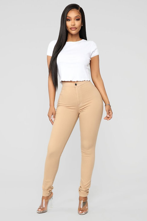 Pantalón Bengalina Elastizada Color Beige Claro