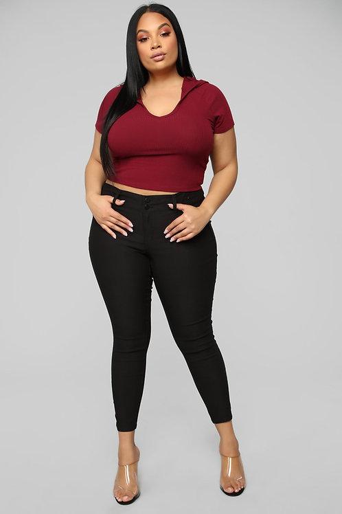 Pantalón Bengalina Color Negro Tiro Alto Talles Especiales