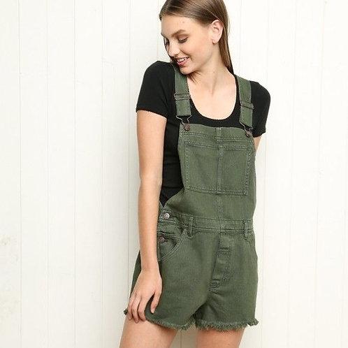 Jardinero Short De Jeans Elastizado Verde Militar