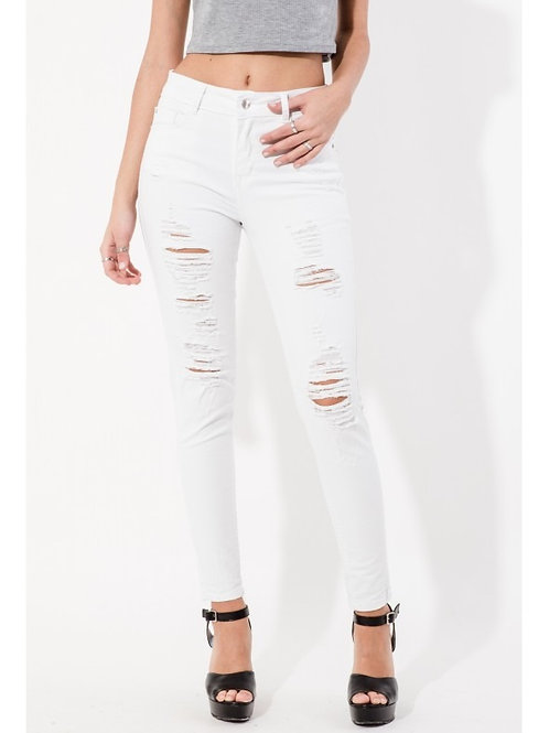 Pantalón Jeans Tiro Alto Con Roturas Blanco