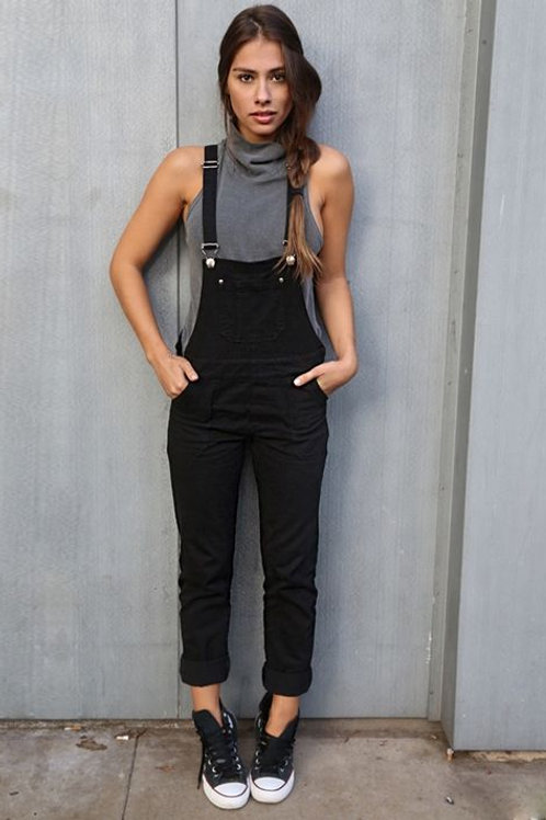 Jardinero Pantalón de Jeans Elastizado Color Negro de Mujer