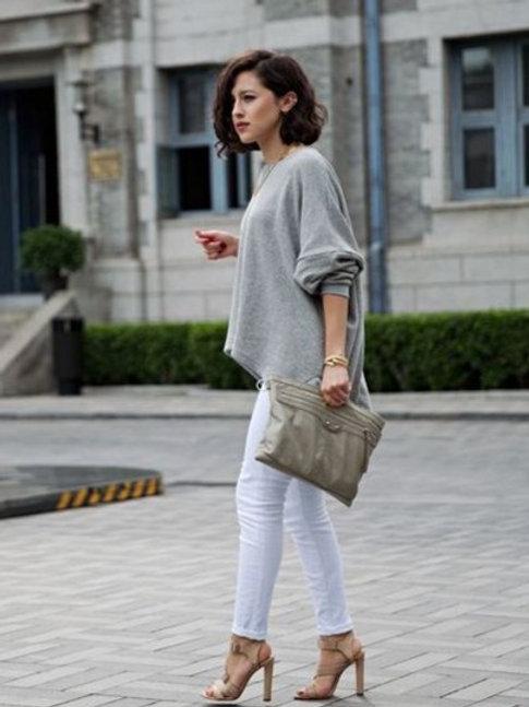 Sweater De Lana Amplio Gris Claro