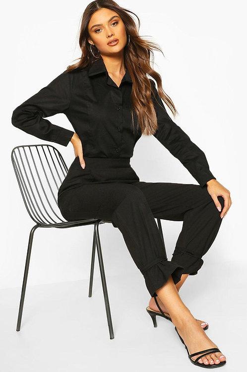 Camisa Elastizada Color Negra de Mujer Al Cuerpo
