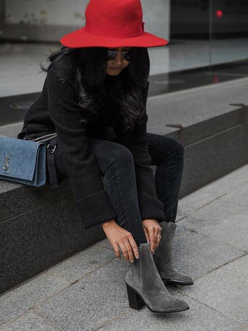 Jeans Gris De Mujer Tiro Alto Elastizado