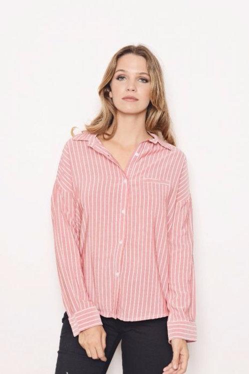 Camisa Entallada De Mujer Rosa Con Rayas