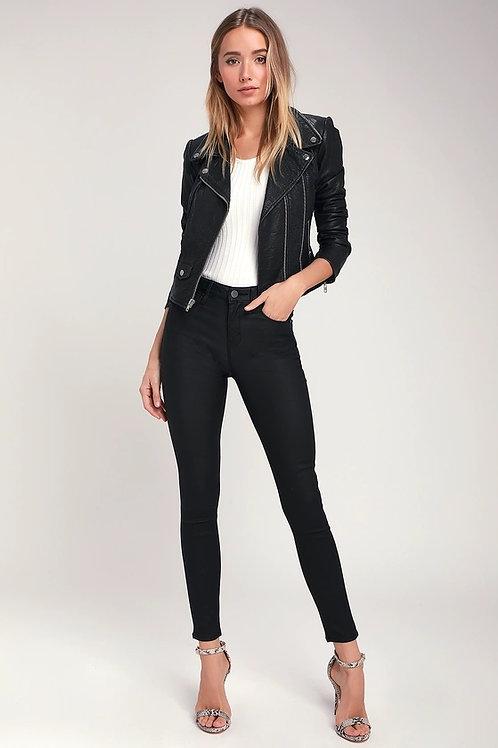 Pantalón Engomado De Cuero Negro Tiro Medio