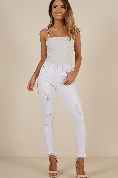 Pantalón Jeans Súper Elastizado Color Blanco